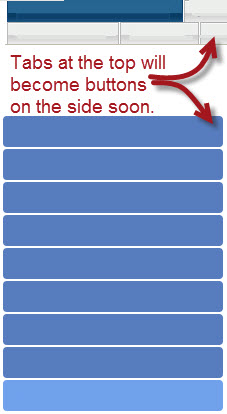 image of several tabs with a note that tabs and several buttons with a note that tabs will be buttons soon