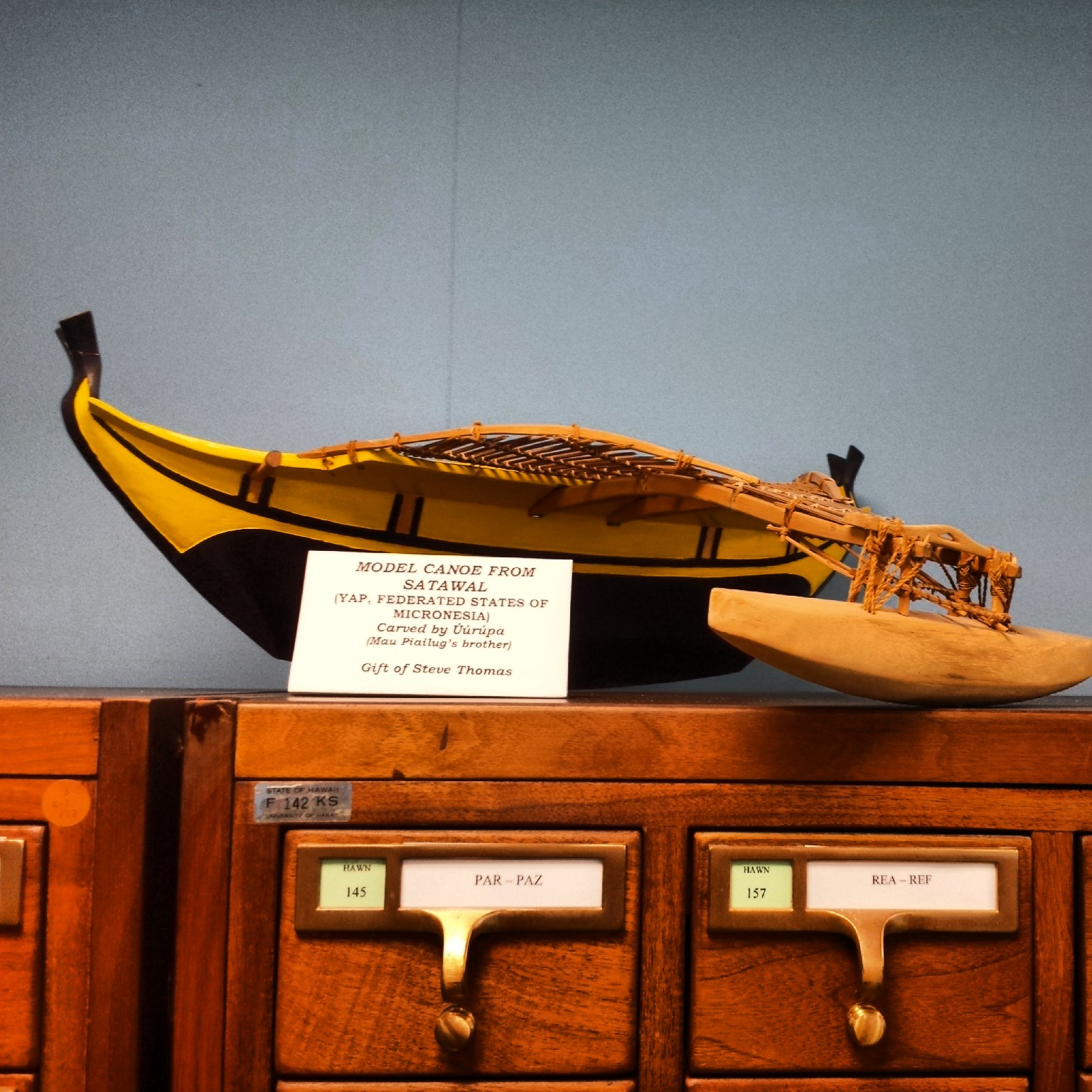 Model canoe from Satawal