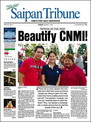 Front page of the 'Saipan Tribune'