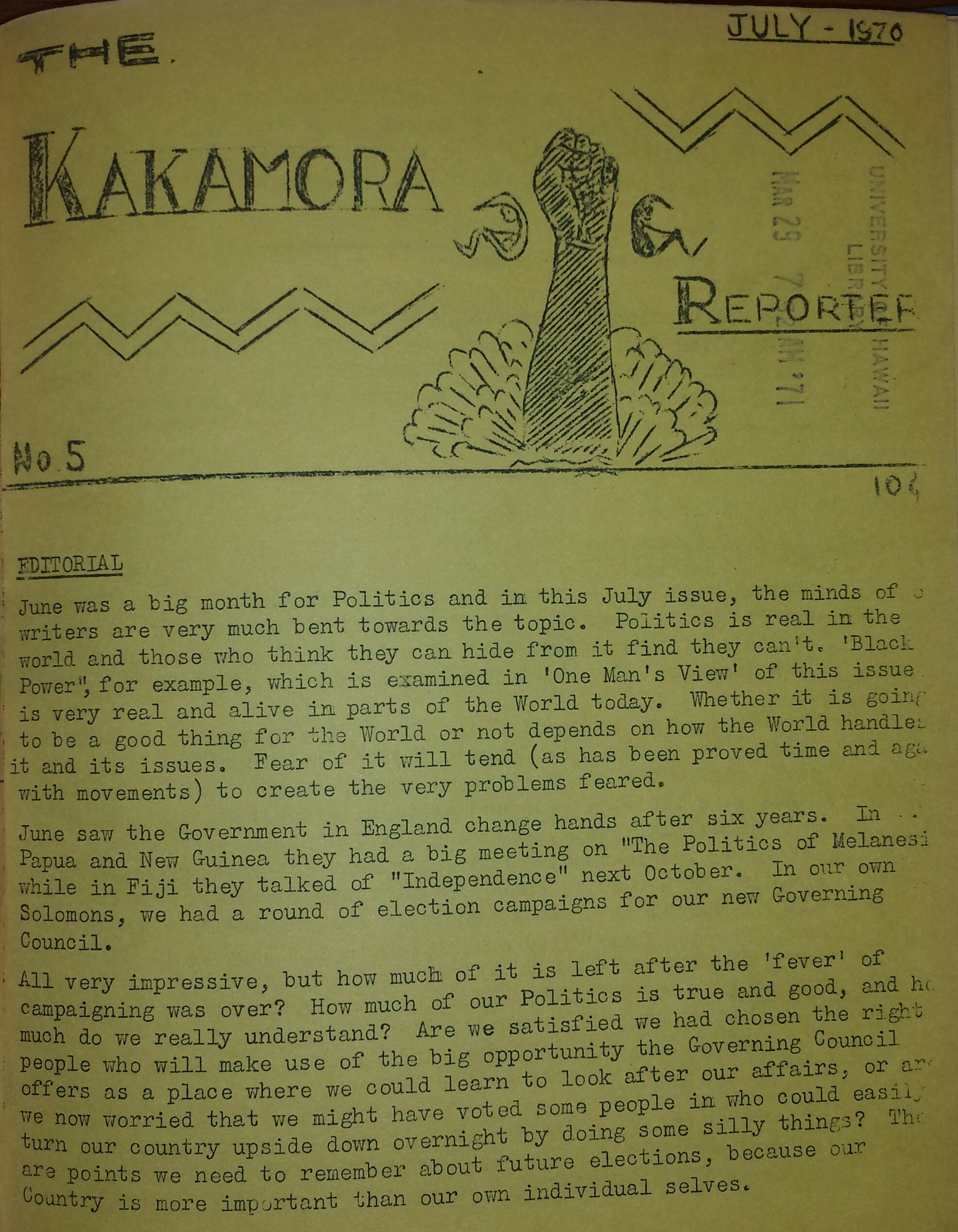 Cover of the 'The Kakamora reporter'