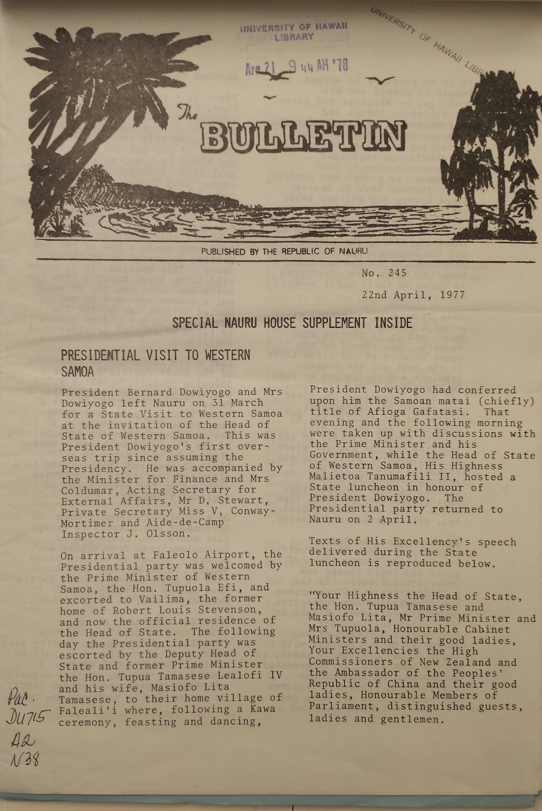 Cover of 'The Bulletin'