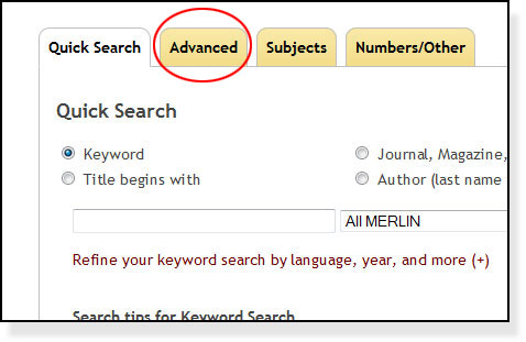 Advanced search tab