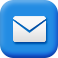 A blue email icon with a white envelope on it.