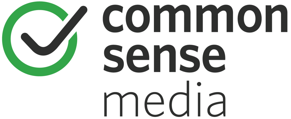 "A black checkmark in a green circle is next to the words ""Common Sense Media"""
