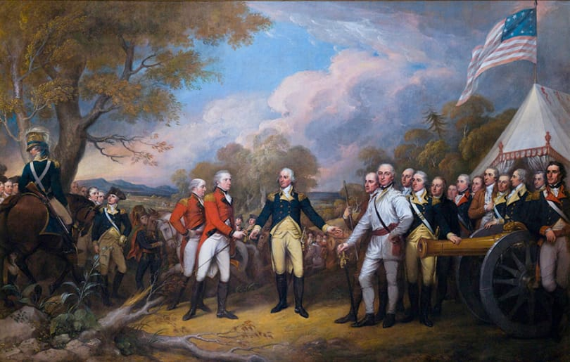 Oil canvas painting of the British surrender at Saratoga - Click to access the American Revolution resources.