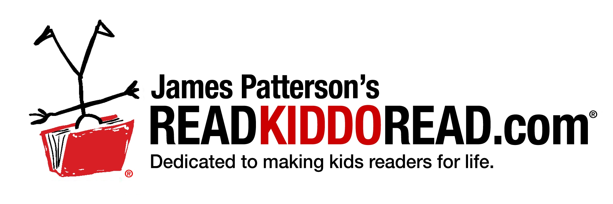 "Read Kiddo Read - An upside-down stick figure has its head in a red book next to the words ""James Patterson's ReadKiddoRead.com: Dedicated to making kids readers for life."