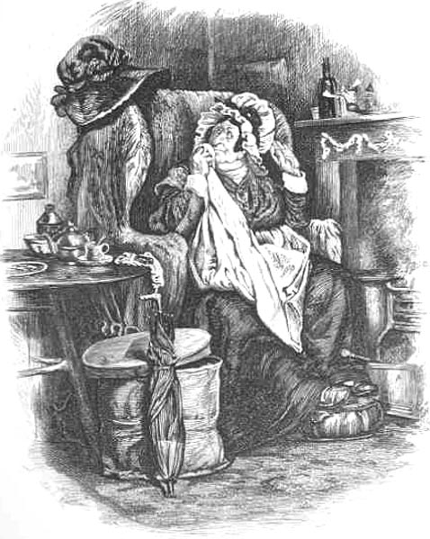 Sarah Gamp by Dickens. An illustrated satirical view of home care nurses prior to Nightingale.