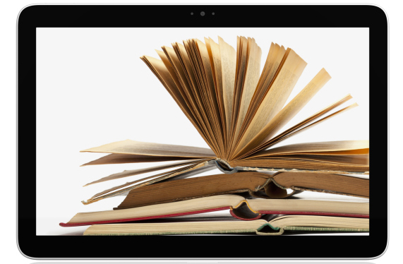 a picture of an open book on a computer tablet