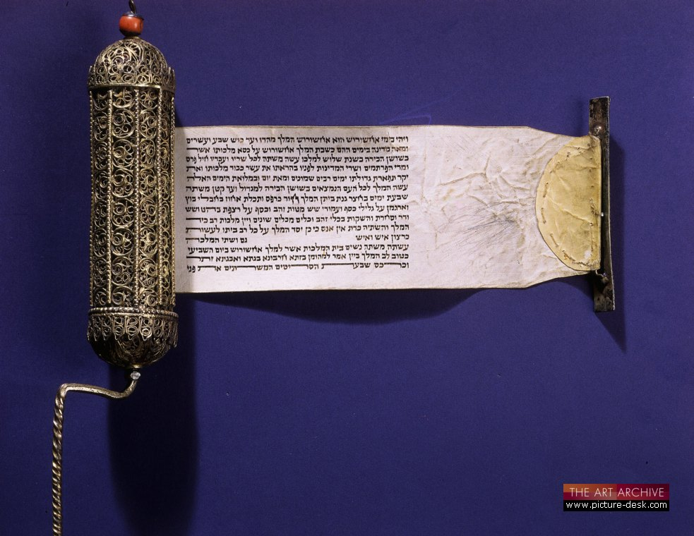 Book of Esther, scroll in filigree case of silver gilt and coral, From the Szapiro Collection, Paris.