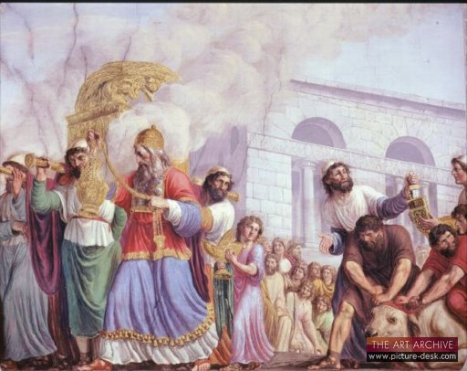 Illustration of King David carrying the Ark of the convenant