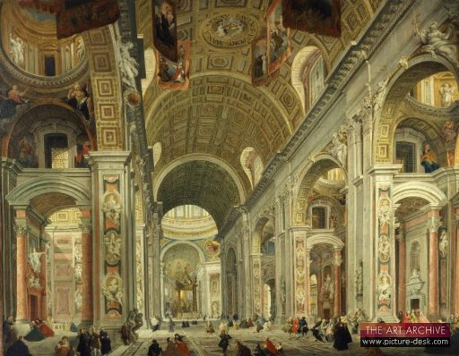 Antonio Pannini painting of the Interior of Saint Peter's Basilica