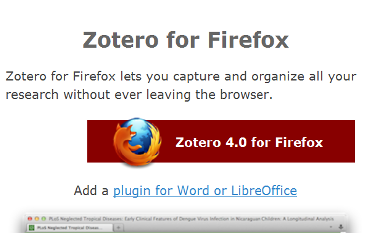 Illustration of the Zotero plugin for Firefox screen