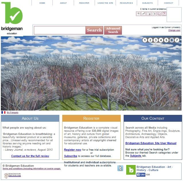 Screenshot of Bridgeman Education Database