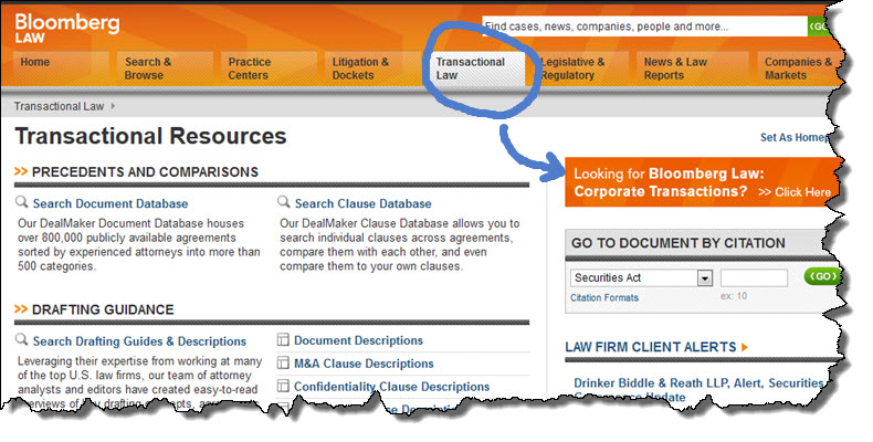 Screenshot of Bloomberg Law's Corporate Transactions button