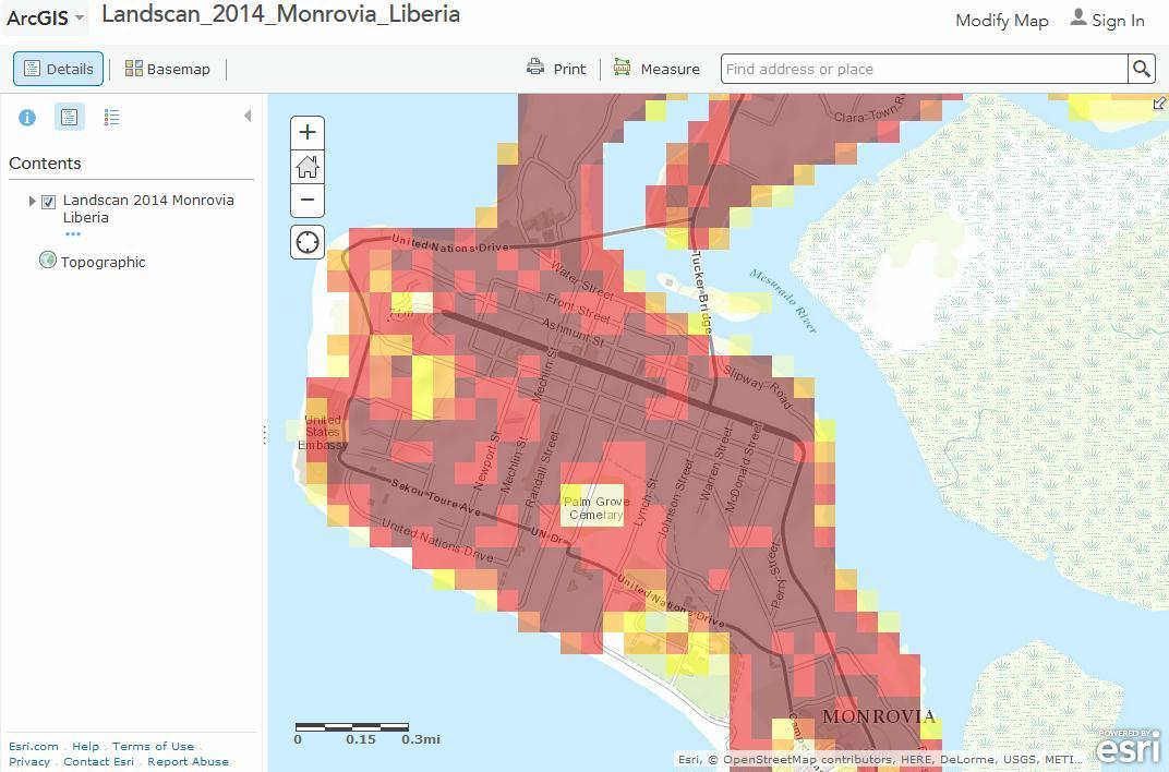 Monrovia. LandScan HD 2014
