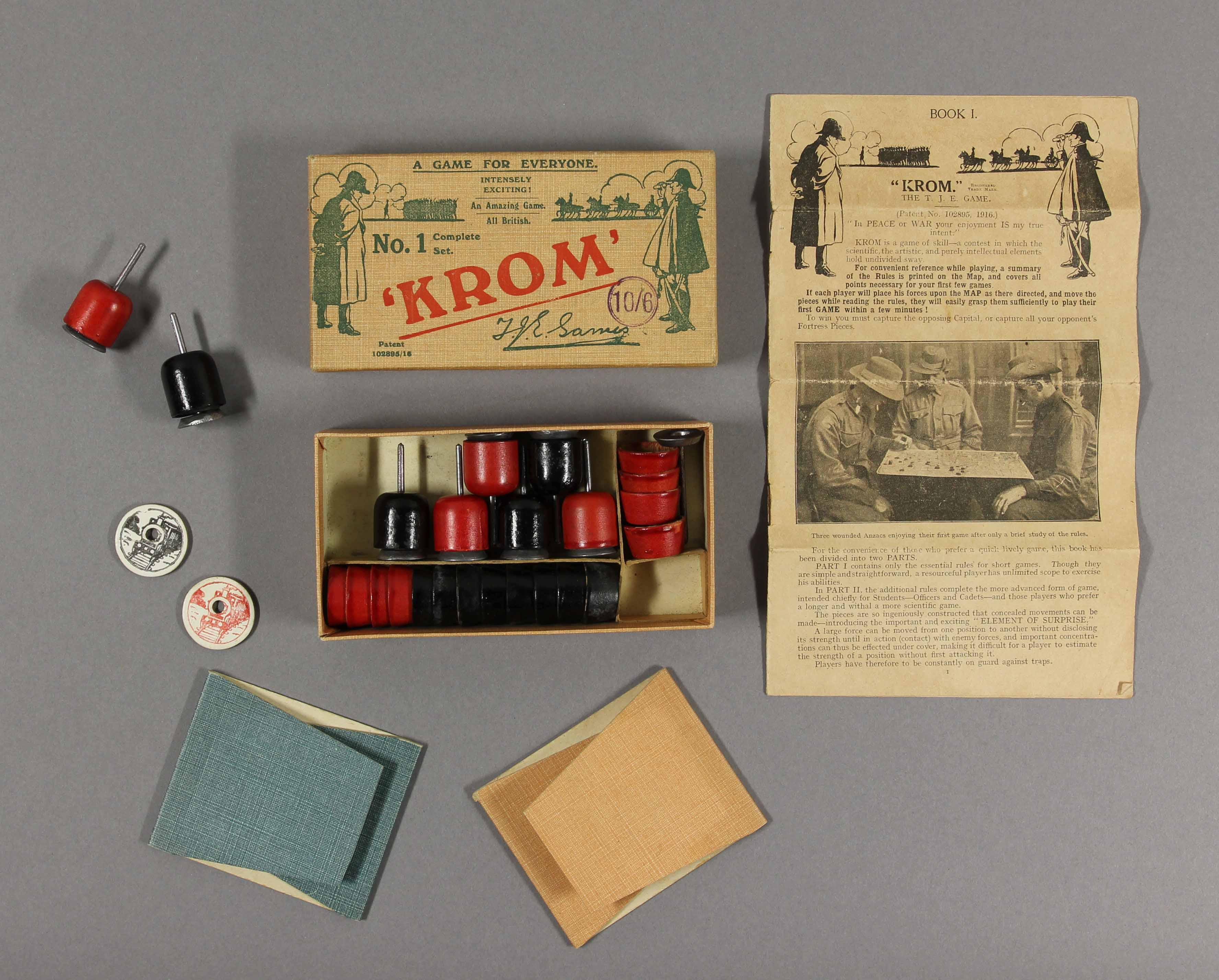 Krom (showing box, pieces and rules). Published by T J Edwards, around 1916