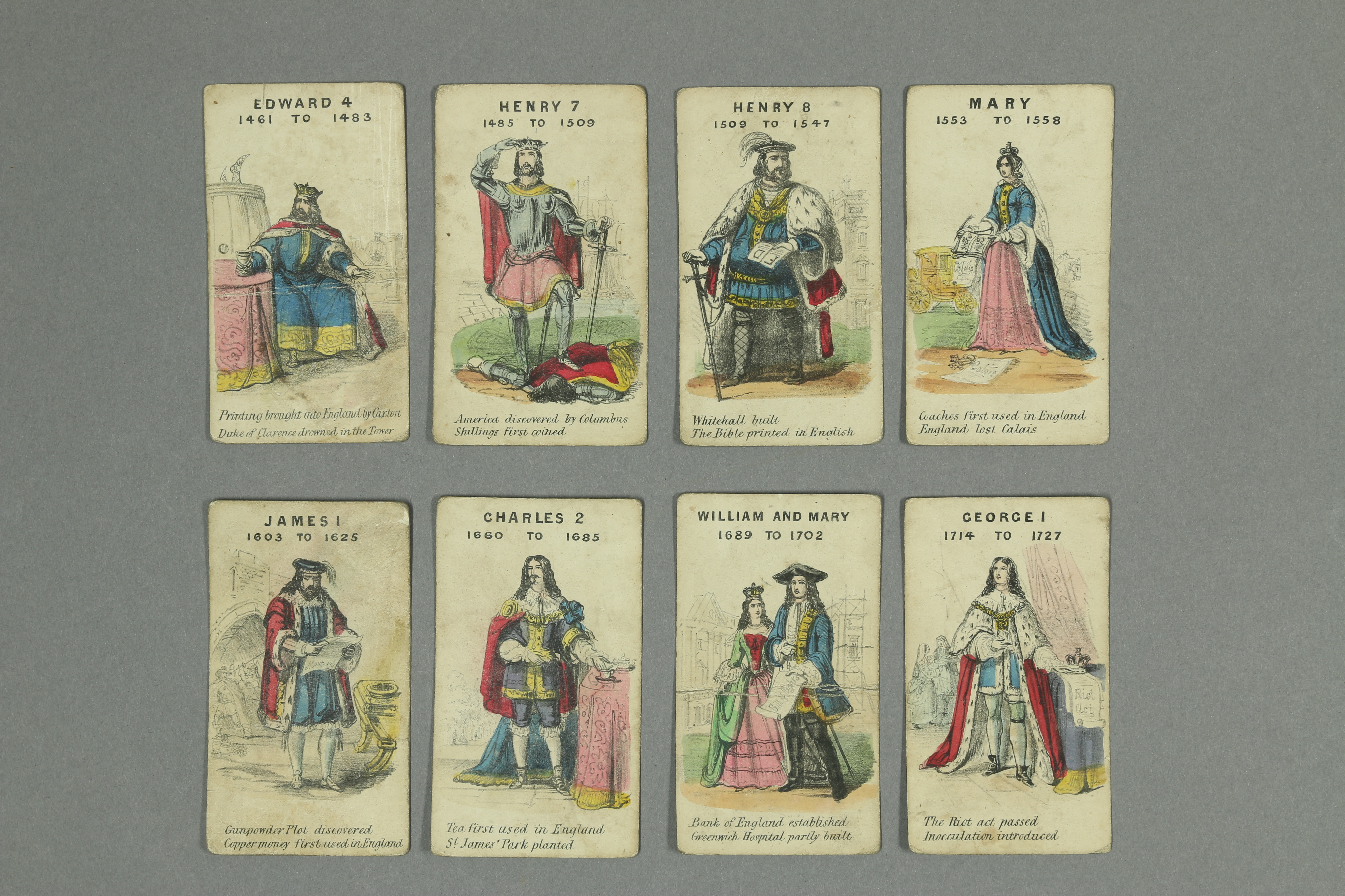 Eight cards showing kings and queens and their characteristics: Ballam Collection