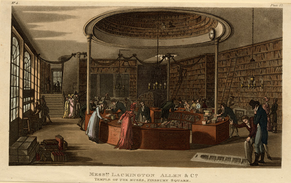 Print showing the interior of Messrs. Lackington, Allen & Co. or The Temple of the Muses
