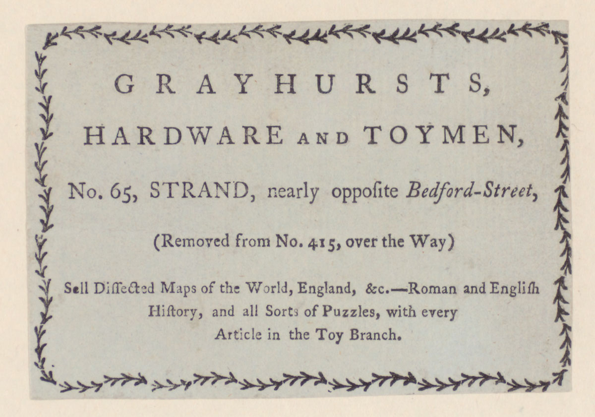 Trade card for Grayhurst's hardware and toymen