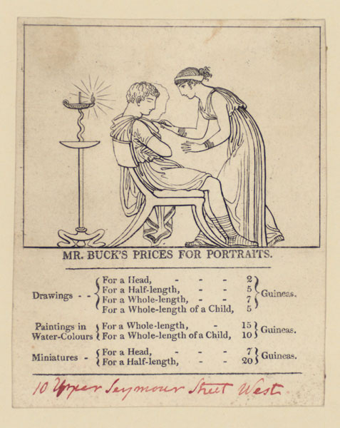 Trade card showing Adam Buck's prices for portraits