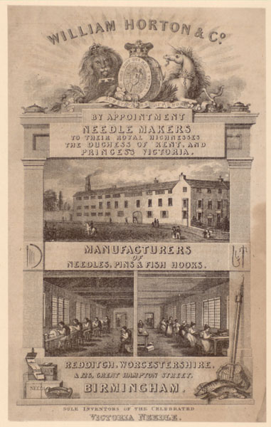 Trade card for William Horton & Co, needle makers of Redditch and Birmingham with images of the exterior and interior of the factory, around 1830