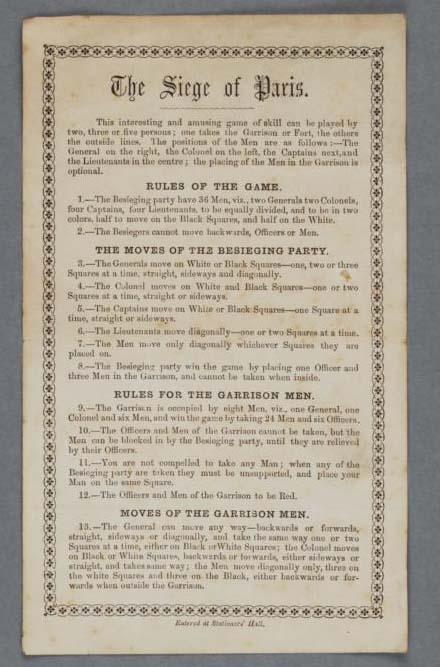 The Siege of Paris. Rules. Around 1870