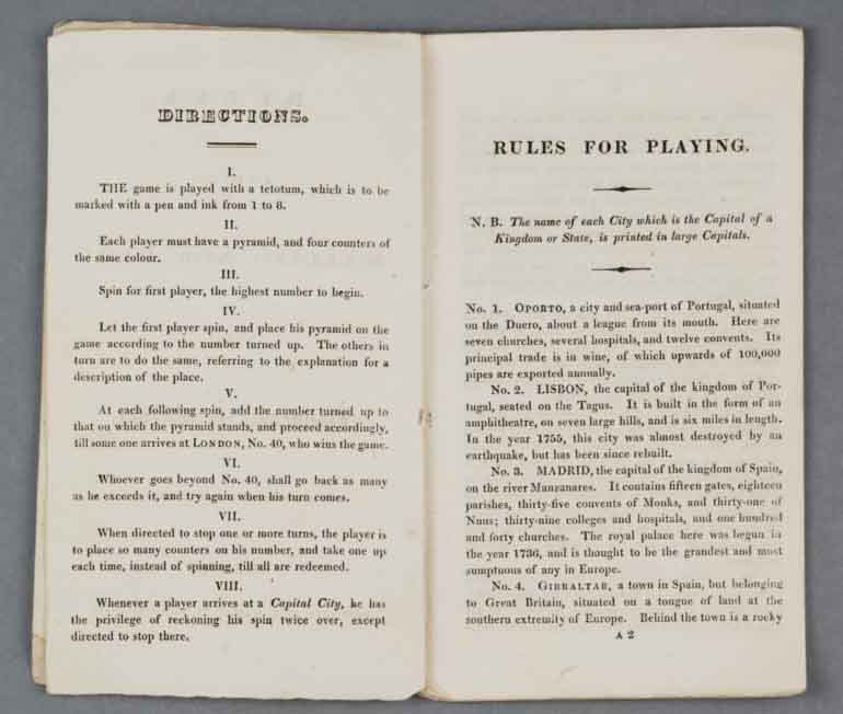 Rules for playing Wallis's New Game of the Panorama of Europe, around 1815