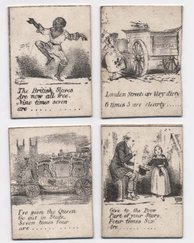 Four cards from Puzzlewigs comic game of the multiplication table, Ballam Collection, Bodleian Library
