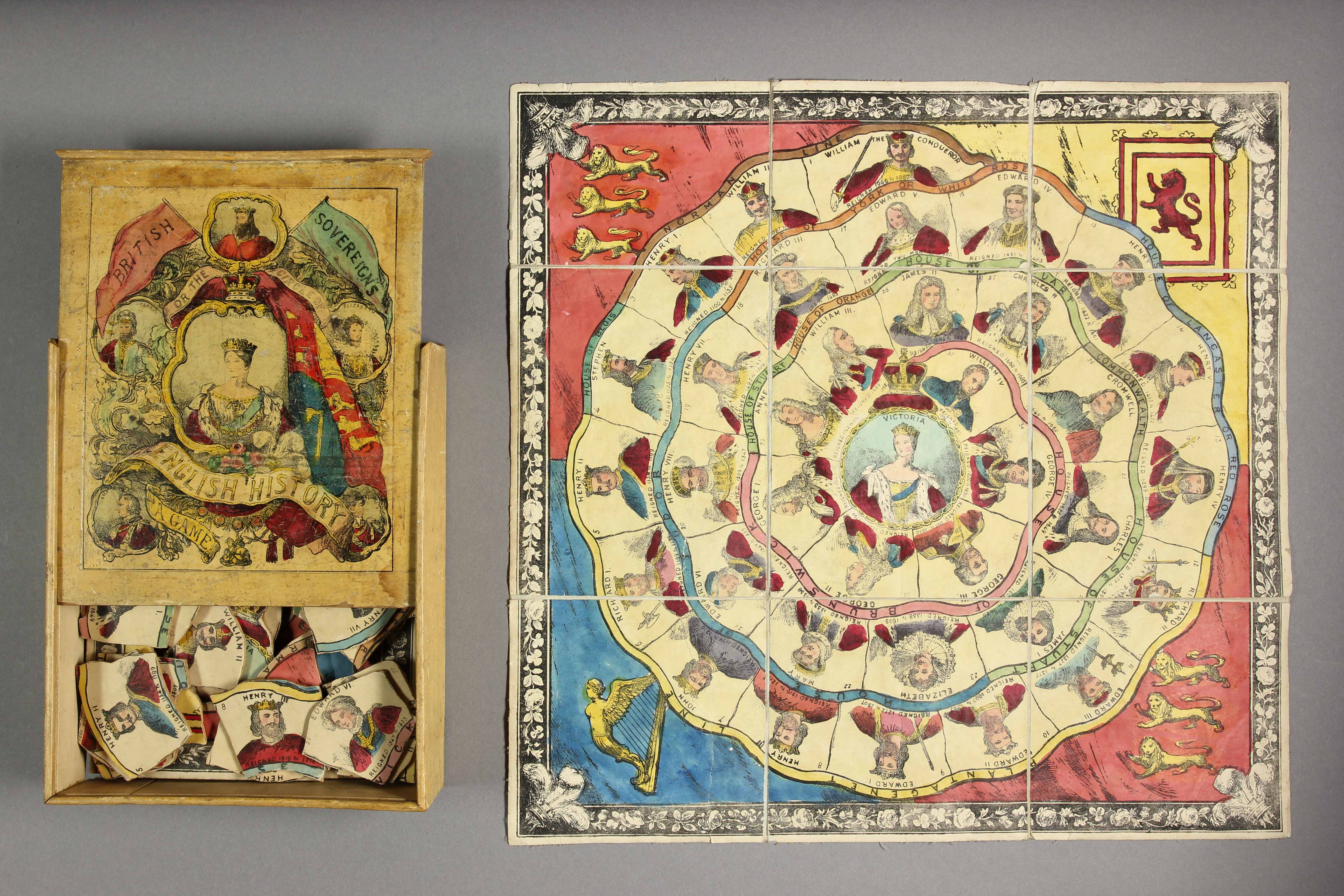 Circle of British History (Box title is British sovereign), Ogilvy, c. 1850. Dissected puzzle, box and guide sheet