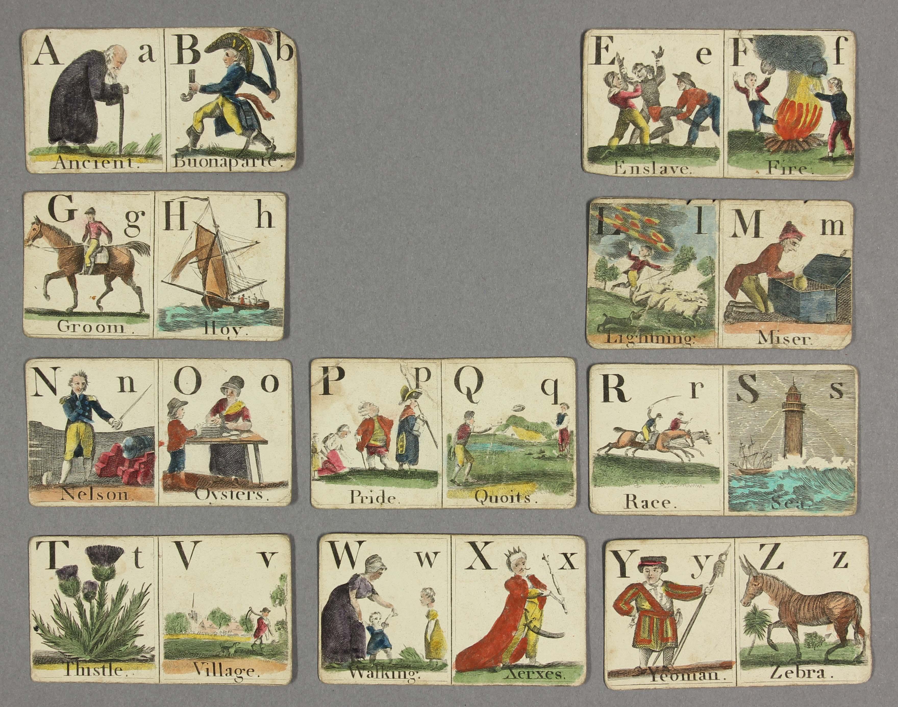 Darton alphabet cards, c.1810. Ballam Collection, Bodleian Library