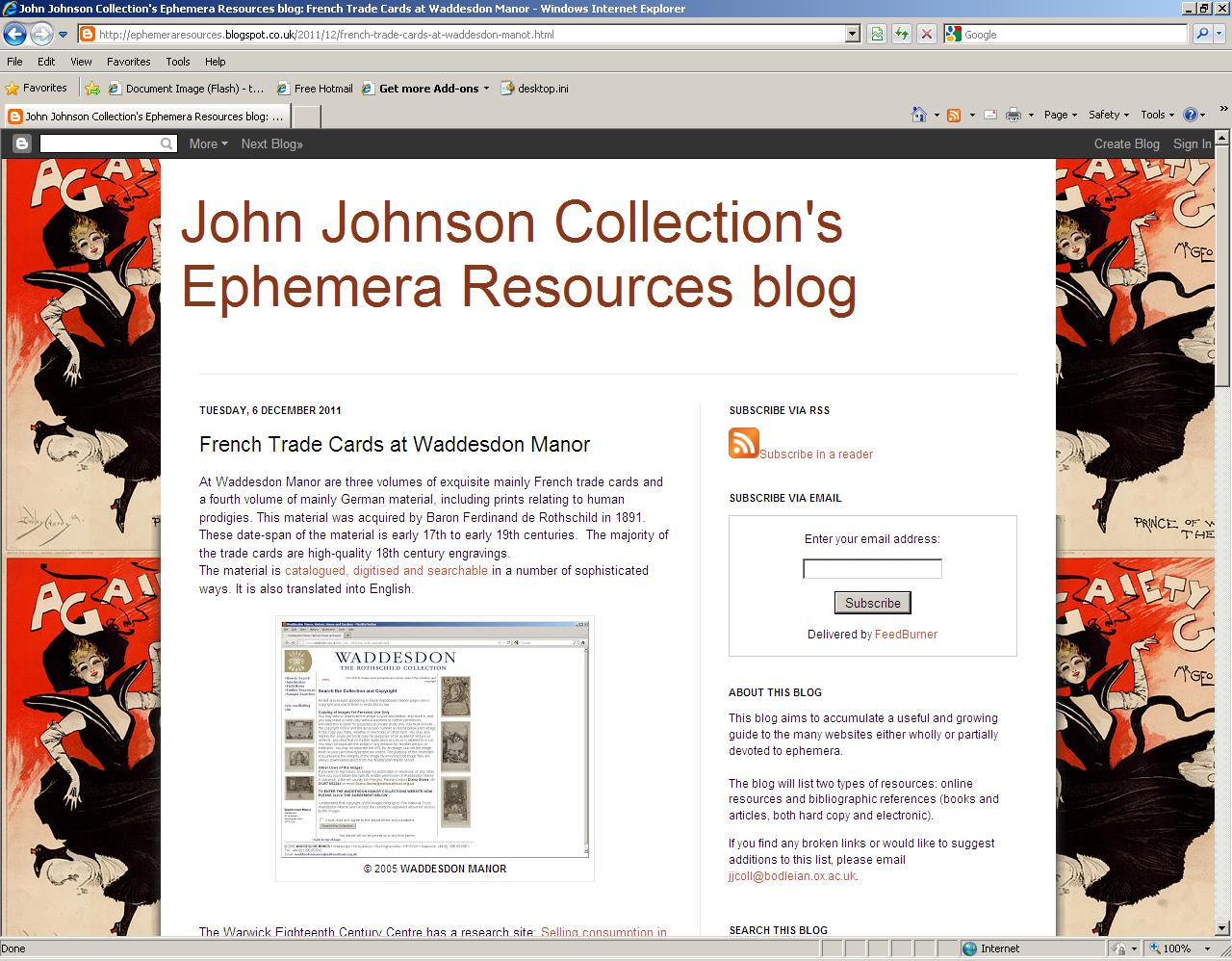 Sample page of the John Johnson Collection's Ephemera Resources blog (now archived)