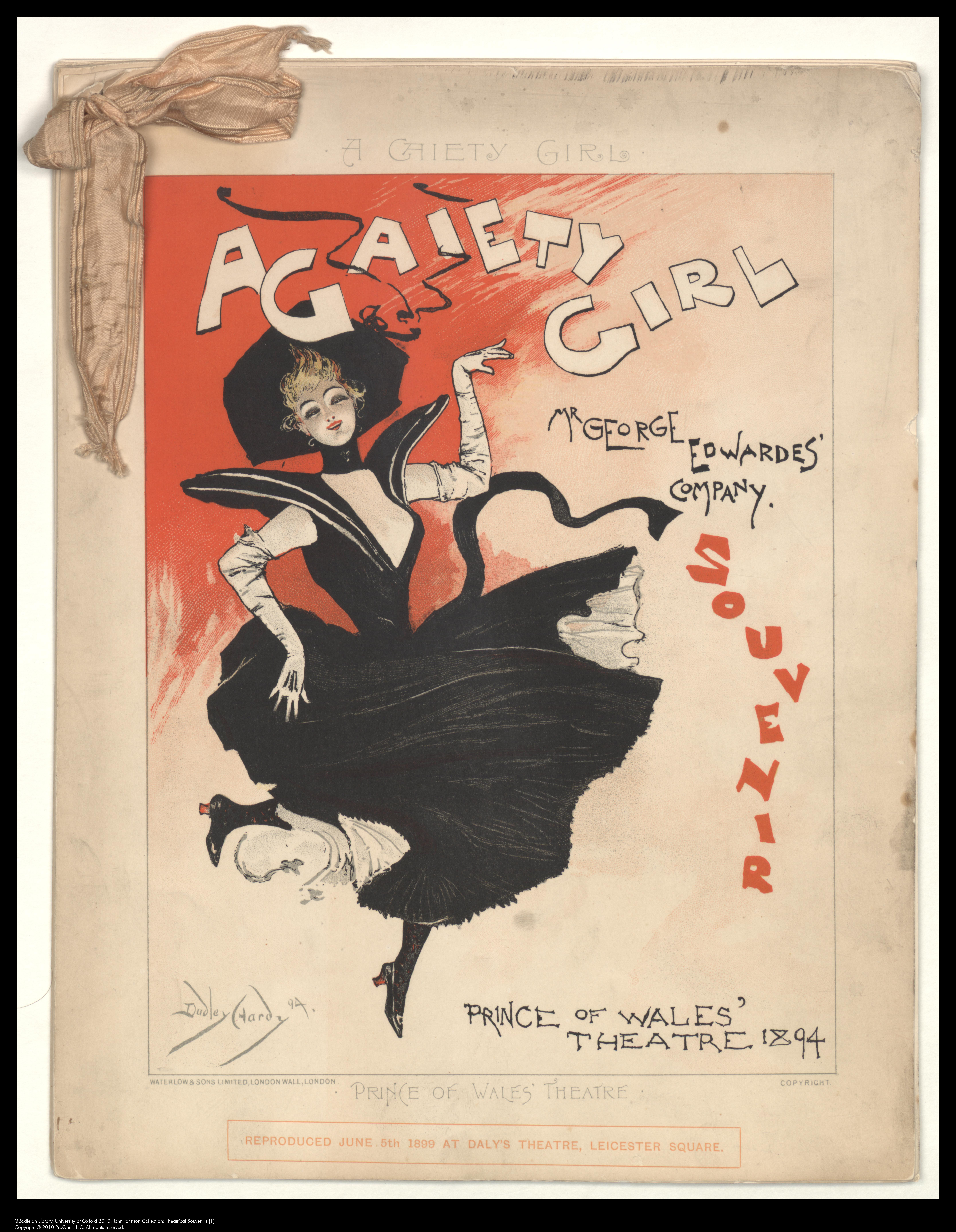 Cover by Dudley Hardy for the theatrical souvenir of A Gaiety Girl