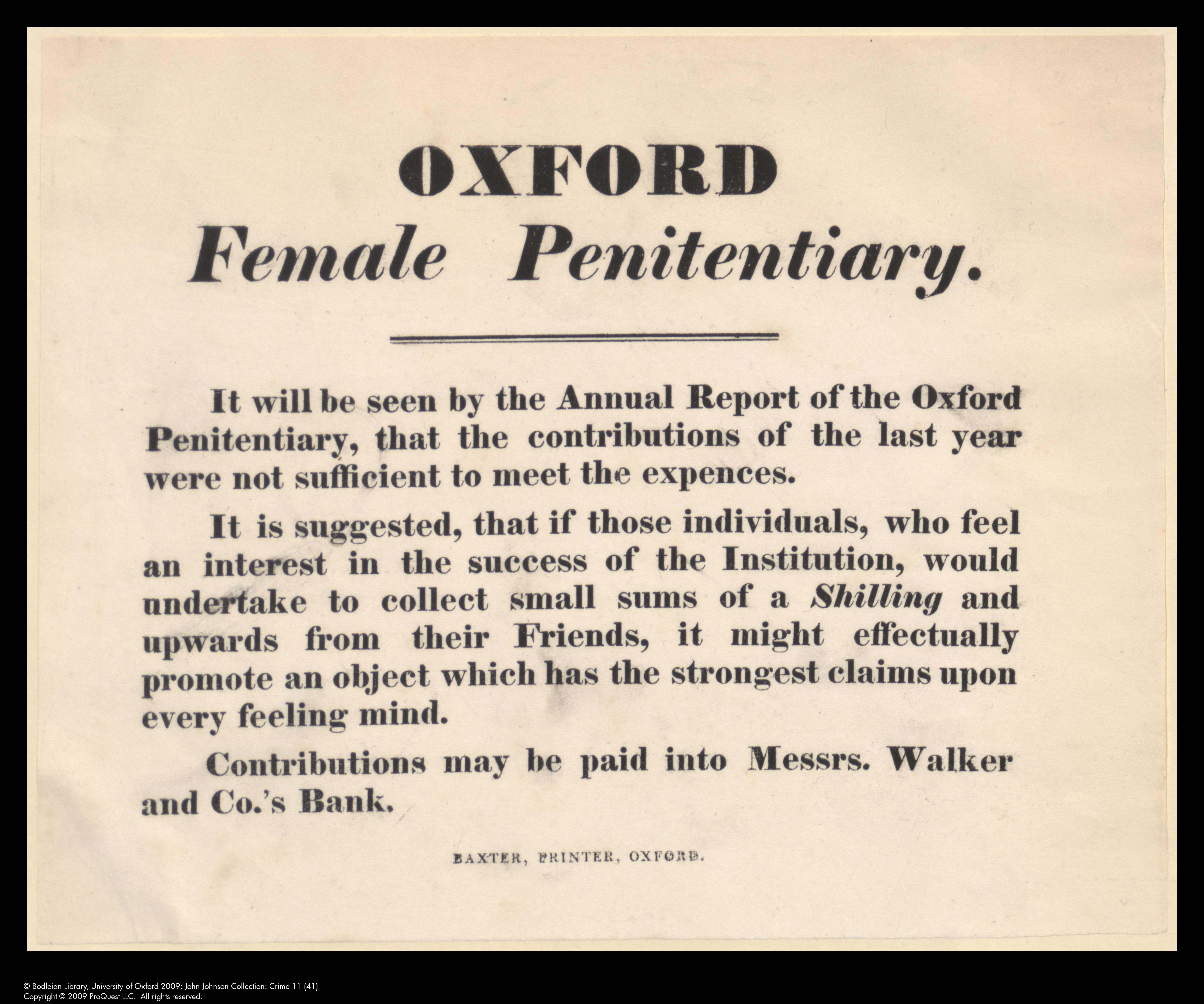 Appeal for funding for Oxford Female Penitentiary