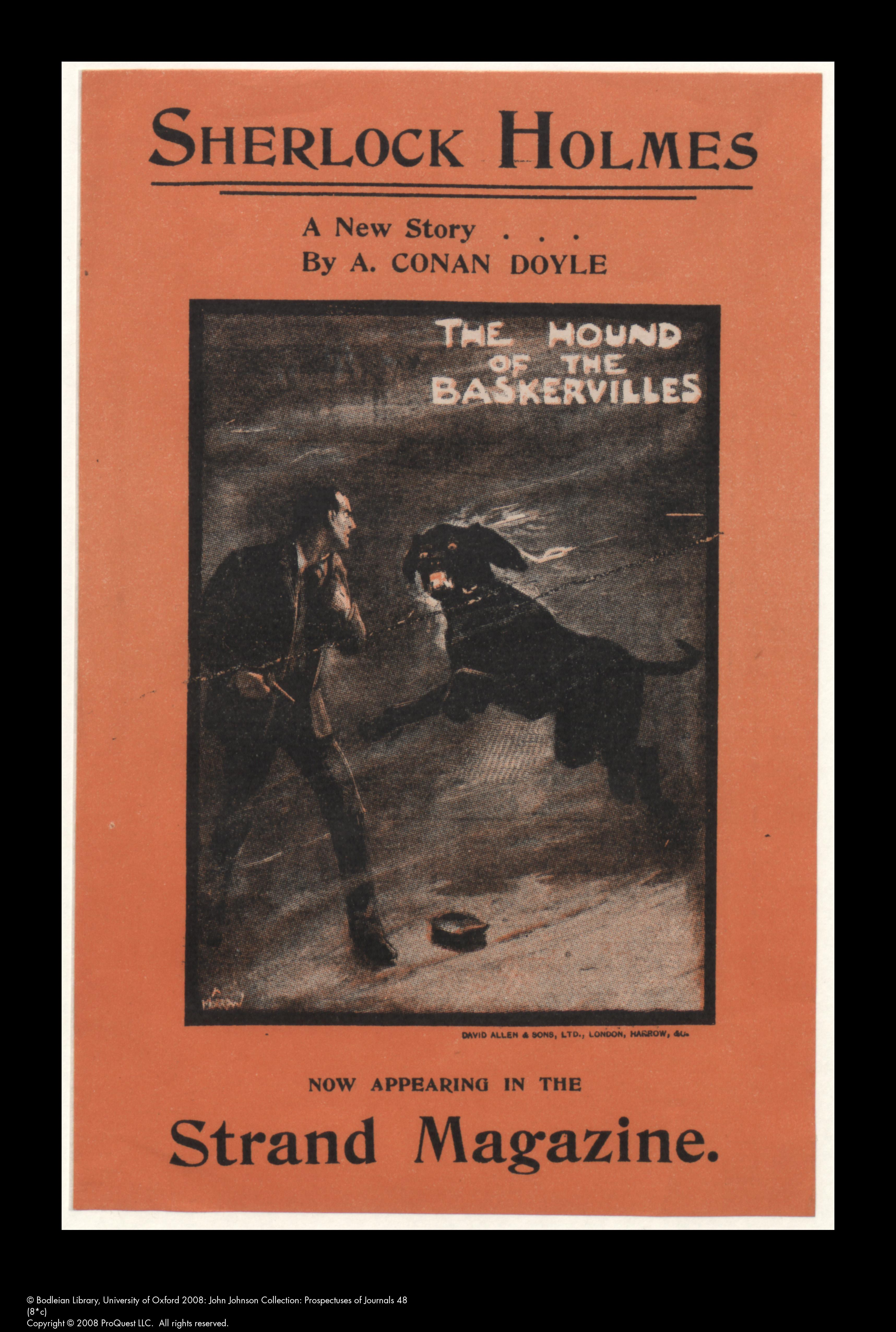 Prospectus for the Strand Magazine, 1901 announcing a new Sherlock Holmes  story: The Hound of the Baskervilles