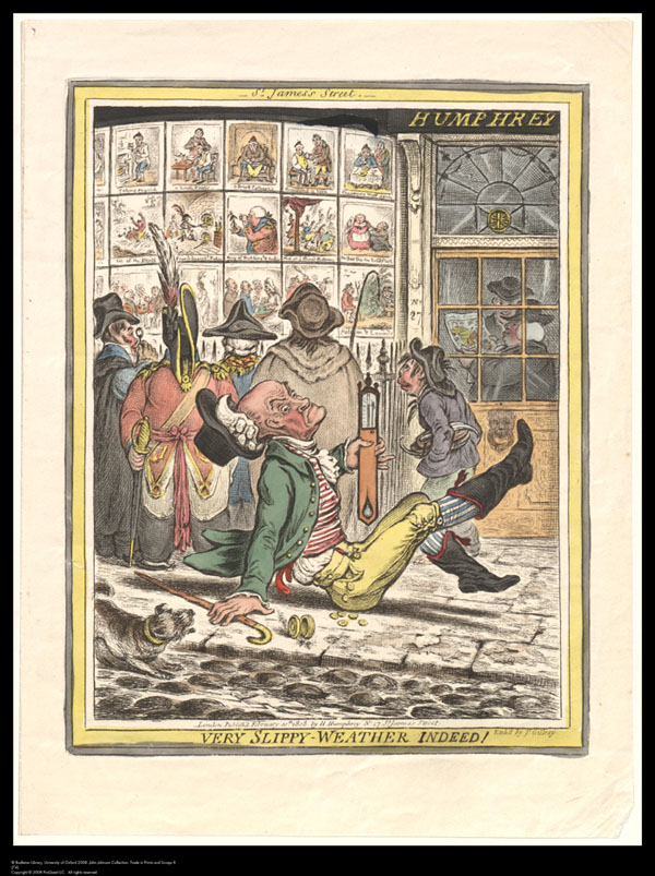 Print titled Very slippy weather indeed, showing Hannah Humphrey's print shop with prints in the window, and with a gentleman slipping up outside