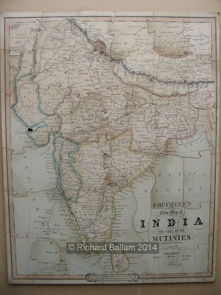 Cruchley's new map of India, the seat of the mutinies (puzzle), J. Passmore 1857. Ballam Collection, Bodleian Library
