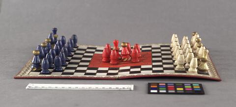 The Siege of Paris. Strategy game showing board and pieces, around 1870