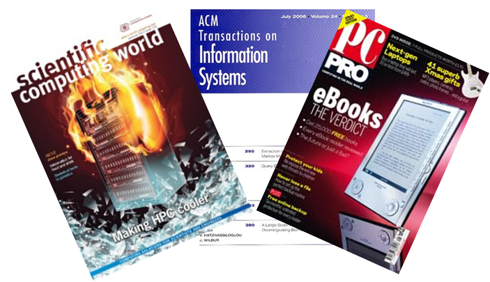 Examples of Computing journals such as Scientific Computing World, ACW Transactions on Information Systems and PC Pro