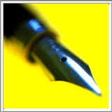 fountain pen against yellow background