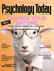 Picture of the cover of Psychology Today which is a sheep in glasses.