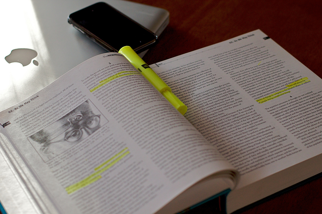 Textbook with highlighter