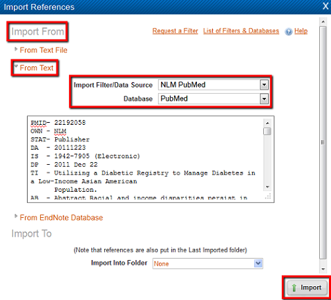 refworks importing from pubmed
