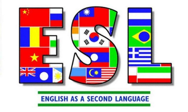 ESL lettering made with the flags of different countries