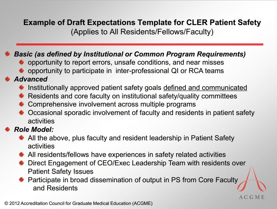 ACGME patient safety expectations