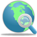 world with magnifying glass