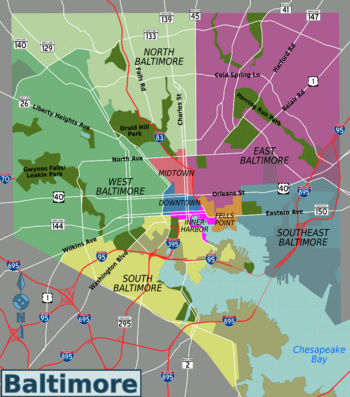 Map of Baltimore districts (South, West, etc.)