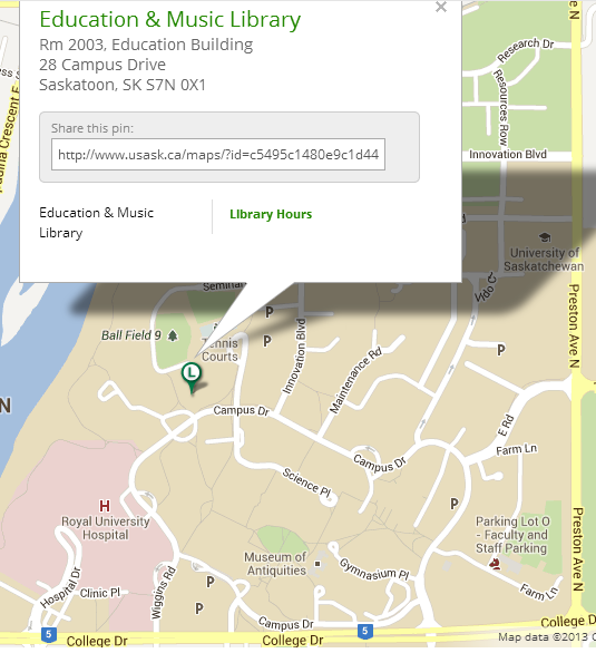 Map showing the location & address of the Education & Music Library on campus.