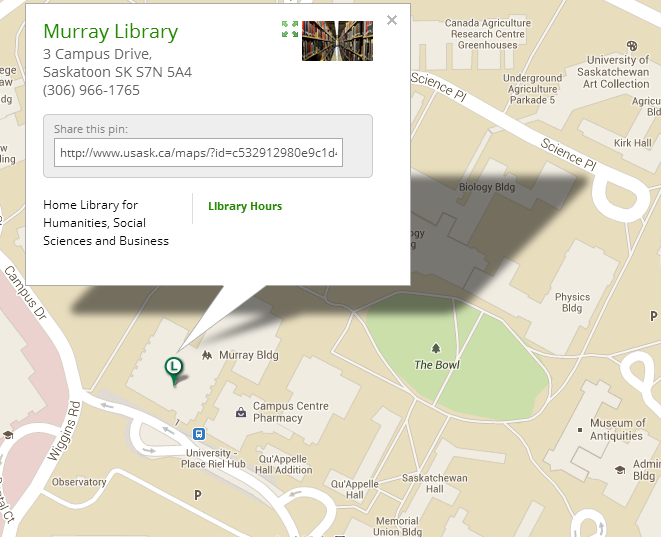 Map showing the location & address of the Murray Library on the campus of the University of Saskatchewan