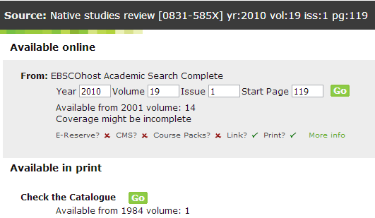 "Screencap of the SFX page, showing an article that is available online from one source, and available in print from the library. Both options have a green ""Go"" button which you can click on to open a new window."