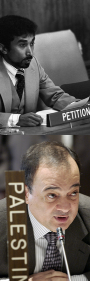 TOP: Mari Alkatiri, Secretary for External Relations of the Revolutionary Front for Independence of East Timor (Fretilin),speaking as a petitioner before the Committee. 22 October 1980. United Nations, New York. BELOW: Nasser Al-Kidwa, Permanent Observer of the Permanent Observer Mission of Palestine, addressing the Fourth Committee. 14 November 2003. United Nations, New York.